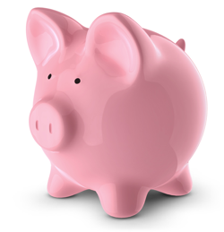 Photograph of piggy bank, courtesy of psdgraphics.com